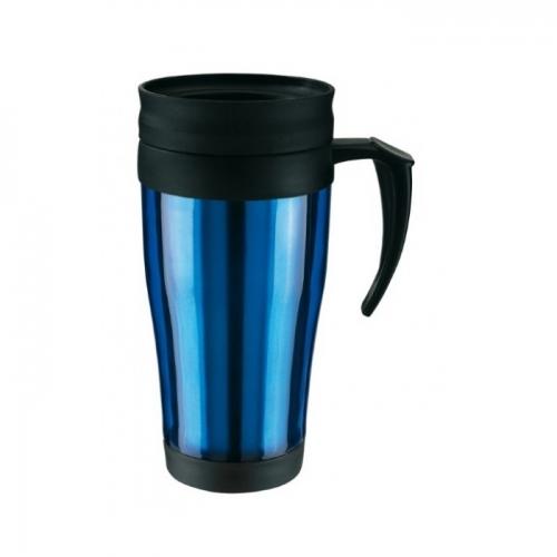 Műanyag hőtartó pohár, 400ml, kék