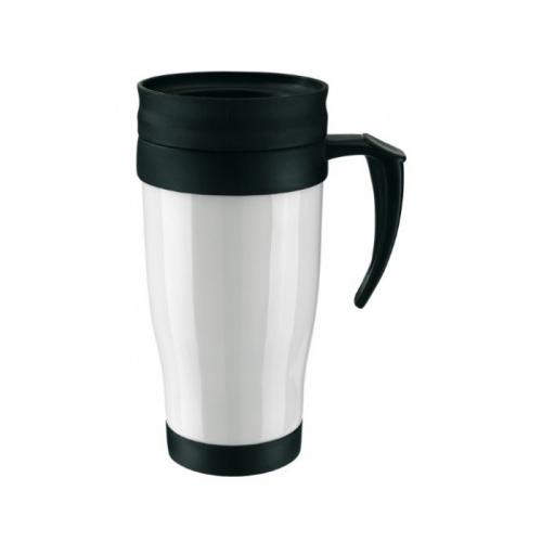 Műanyag hőtartó pohár, 400ml, fehér